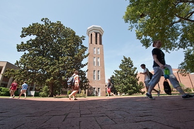Bell Tower Low Angle Wide with Students